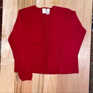 Red button front sweater